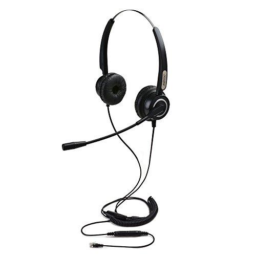 agptek 4 pin rj9 binaurales telefon headset mit mikrofon 3. Black Bedroom Furniture Sets. Home Design Ideas
